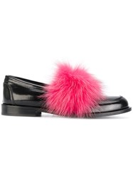 Joshua Sanders Loafers With Pink Fox Fur Calf Leather Leather Black