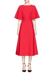 Valentino Capelet Sleeve Ponte Knit Dress Red