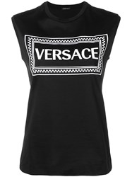 Versace Logo Embroidered Tank Top Black