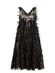 Norma Kamali Sequin Fringed Mini Dress Black