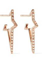 Diane Kordas Star Hoop 18 Karat Rose Gold Diamond Earrings
