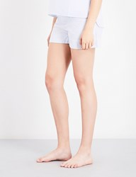 Bodas Striped Cotton Pyjama Shorts Muted Blue White Stripe