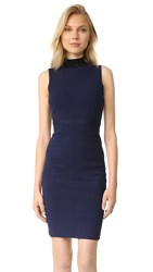 Milly Beaded Collar Sheath Dress Navy