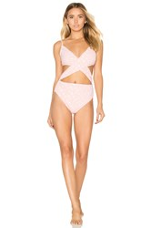 For Love And Lemons Jardine Criss Cross One Piece Swimsuit Pink