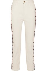 Chloe Exclusive Cropped Embroidered High Rise Straight Leg Jeans White