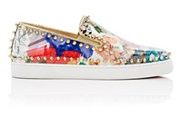Christian Louboutin Women's Pik Boat Woman Flat Patent Leather Sneakers Gold White