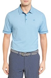 Travis Mathew Men's Craft Contrast Trim Polo Cendre Blue White