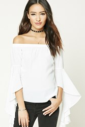 Forever 21 Boxy Off The Shoulder Top Cream