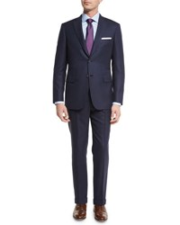 Brioni Tonal Stripe Super 160S Wool Two Piece Suit Navy