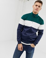 Pier One Track Top In Colour Block With Funnel Neck Blue