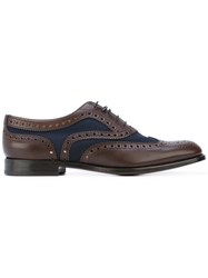 Church's Panel Oxford Shoes Women Leather Canvas 39.5 Brown
