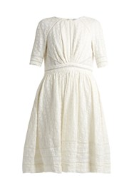 Zimmermann Roza Embroidered Cotton And Silk Blend Dress Ivory