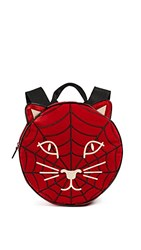 Charlotte Olympia Incy Spiderweb Backpack Red Black