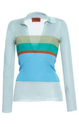 Missoni Long Sleeve Stripe Tube Overlay Polo Blue Green Red