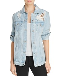 Aqua Oversized Distressed Denim Jacket 100 Exclusive Blue