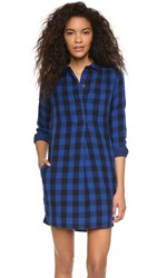 Madewell Jane Plaid Shirtdress Coastal Blue
