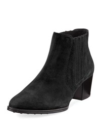 Tod's Suede Pull On Ankle Bootie Black