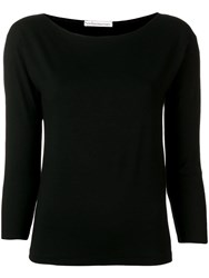 Stefano Mortari Cropped Sleeve Knitted Top Black