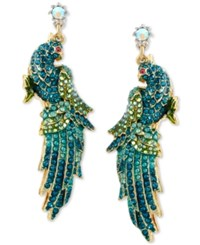 Betsey Johnson Gold Tone Blue And Green Pave Crystal Bird Drop Earrings