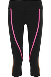 Nike Legendary Cropped Neon Trimmed Stretch Jersey Leggings Black