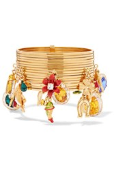 Dolce And Gabbana Carretto Gold Tone Crystal Bracelet One Size