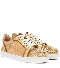 Christian Louboutin Vieira Spikes Embellished Leather Sneakers Gold