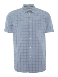Linea Kyle Window Pane Print Short Sleeve Shirt Blue