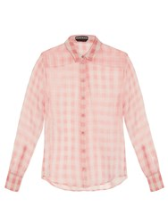 Rochas Madras Gingham Check Silk Organza Blouse