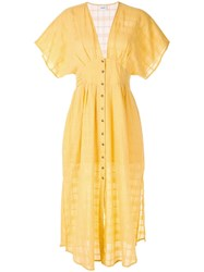 Suboo Deep V Neck Dress Yellow