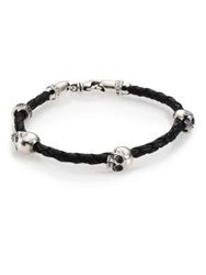 King Baby Studio Sterling Silver And Braided Leather Three Skull Bracelet Black Silver