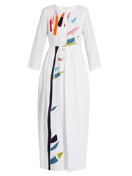 Mara Hoffman Xylophone Embroidered Midi Linen Dress White Multi