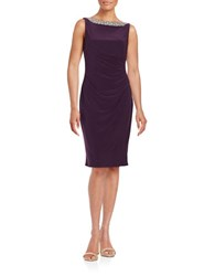 Alex Evenings Embellished Boatneck Sheath Eggplant