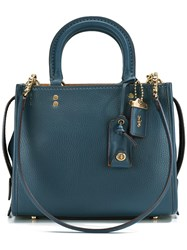 Coach Detachable Straps Tote Blue