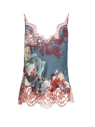 Carine Gilson Wonderland Print Lace Applique Silk Satin Cami Top Blue Print