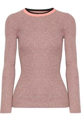 Apiece Apart De Colores Melange Ribbed Knit Cotton Sweater Pink