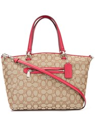 Coach Jacquard Tote Bag Red