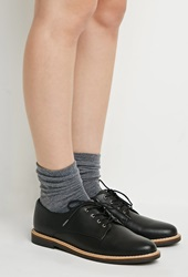 Forever 21 Faux Leather Oxfords Black