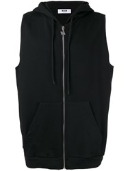 Msgm Sleeveless Zipped Hoodie Black