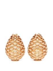 L'objet Pine Cone 24Kt Gold Plated Salt And Pepper Shakers Gold