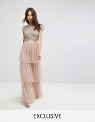 Maya Cape Sleeve Tiered Maxi Dress In Tonal Delicate Sequin With Bow Back Brown