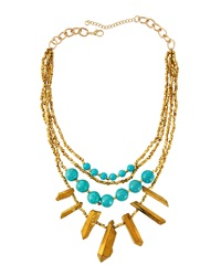 Panacea Multi Strand Bead And Bar Necklace Turquoise Golden