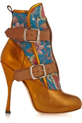 Vivienne Westwood Skyscraper Seditionary Printed Suede And Metallic Leather Boots