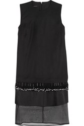 Mother Of Pearl Audra Embellished Paneled Stretch Crepe Midi Dress Black