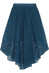 Tibi Hanae Broderie Anglaise Cotton And Silk Blend Midi Skirt Blue