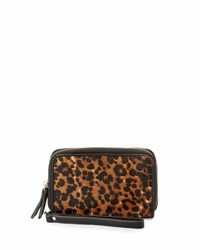 Neiman Marcus Leopard Calf Hair Faux Leather Wristlet Natural Bl