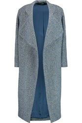 Emilia Wickstead Boucle Tweed Coat Blue