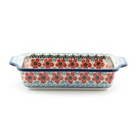 Bunzlau Castle Baking Dish Red Violets Small