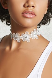 Forever 21 Rhinestone Floral Choker White Silver