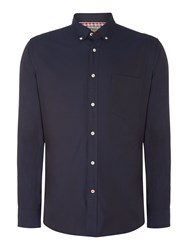 T.M.Lewin Plain Slim Fit Long Sleeve Button Down Shirt Navy