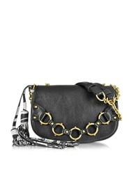 Roberto Cavalli Fringe Small Black Leather Shoulder Bag